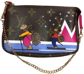 ca64242a72 Louis Vuitton Pochette Accessoire Brown Linen Clutch Bag
