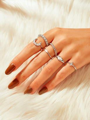 Shein Gemstone Engraved Ring 6pcs