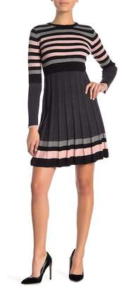 Eliza J Pleated Ribbed Fit Flare Dress (Petite)