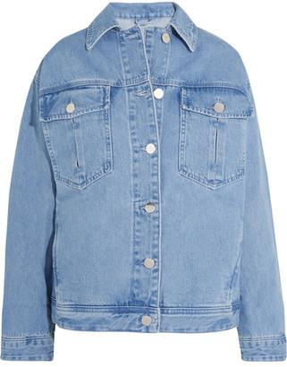 Topshop Unique Rushmore Oversized Beaded Denim Jacket - Light denim