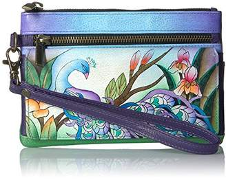 Anuschka Anna by Hand Painted Leather Wristlet Organizer Wallet | Midnight Peacock