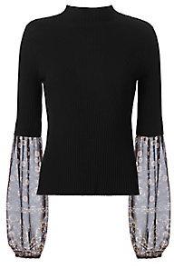 Veronica Beard 2 in 1 Printed Sleeve Knit