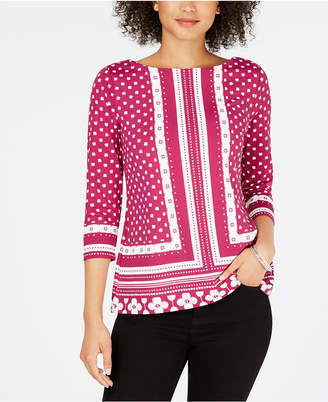 Charter Club Petite Printed Boat-Neck Top