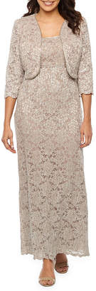 R & M Richards 3/4 Sleeve Embellished Lace Dress with Removable Jacket