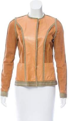 Fendi Python-Accented Leather Jacket