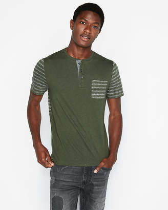 Express Color Block Striped Short Sleeve Henley