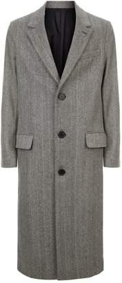 Ami Paris Herringbone Long Overcoat