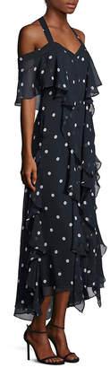 Nicholas Polka Dot Cold-Shoulder Ruffled-Front Silk Dress