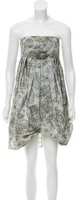 Anna Sui Printed Strapless Dress