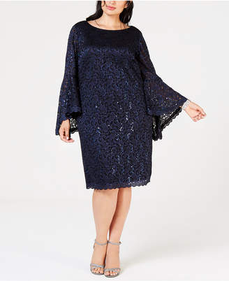 Jessica Howard Plus Size Sequined Bell-Sleeve Dress