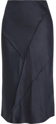 Vince Paneled Silk-satin Midi Skirt - Black