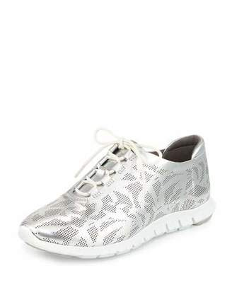 Cole Haan ZeroGrand Perforated Leather Sneaker, Silver $200 thestylecure.com
