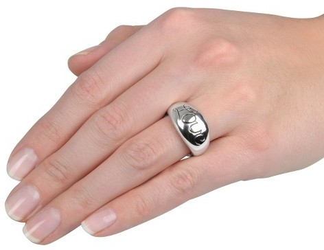 Sterling Silver Domed Love Ring - Silver