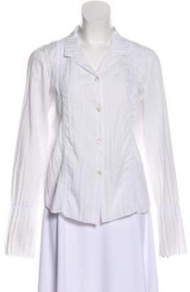 Armani Collezioni Lace-Trimmed Button-Up Top