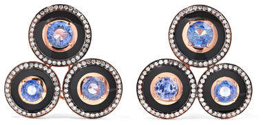 Selim Mouzannar - Mina 18-karat Rose Gold, Enamel, Sapphire And Diamond Earrings