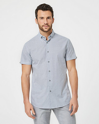 Le Château Geo Print Cotton Blend Skinny Collar Short Sleeve Shirt
