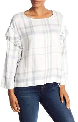 Vince Camuto Plaid Bell Sleeve Blouse