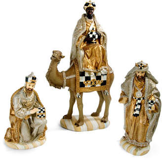 Mackenzie Childs MacKenzie-Childs Silver Lining Three Kings Nativity Figurines Set