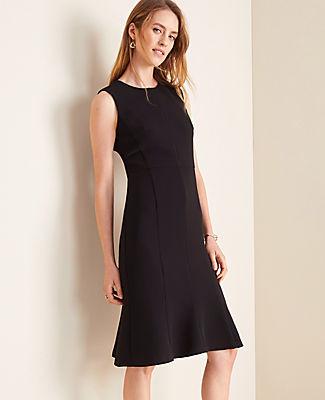 Ann Taylor The Petite Flounce Dress in Black Doubleweave