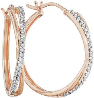 JCPenney FINE JEWELRY 1/10 CT. T.W. Diamond 14K Rose Gold Over Sterling Silver X-Hoop Earrings