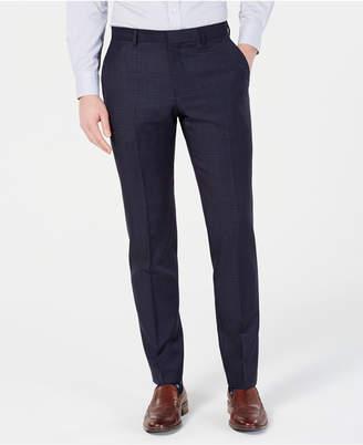 HUGO BOSS Men's Modern-Fit Wool Navy Plaid Suit Pants
