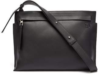 Loewe Logo Debossed Leather Messenger Bag - Mens - Black