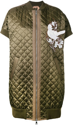quilted bird detail coat