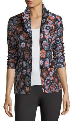 Theory Floral-Jacquard Two-Button Riding Jacket