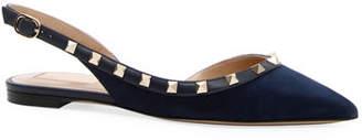 Valentino Suede Rockstud Slingback Ballet Flats