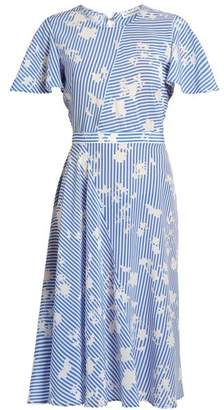 Altuzarra - Dorothea Short Sleeved Striped Silk Midi Dress - Womens - Blue White