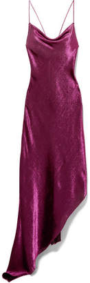 Juan Carlos Obando Asymmetric Metallic Stretch Silk-blend Maxi Dress - Plum