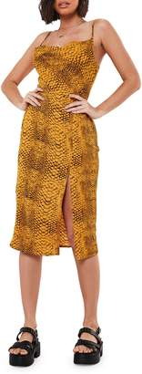 Missguided High Neck Tie Waist Smocked Leopard-Print Dress