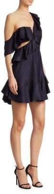 Zimmermann Rife One-Shoulder Flounce Dress