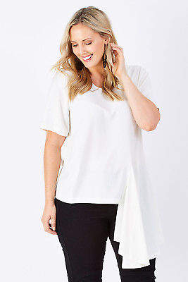 Off-White NEW bird by design Womens Blouses The Side Panel Drape Top OffWhite - Tops