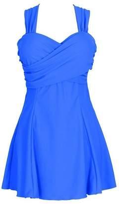 f55482725b Leefi Women s Elegant Crossover One Piece Plus Size Cover Up Skirted Bottom  Swimsuit(