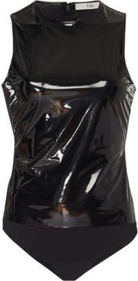 Tibi Vinyl-Paneled Jersey Bodysuit Size: XXS
