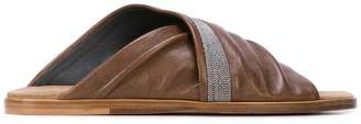Brunello Cucinelli wrap around sandals