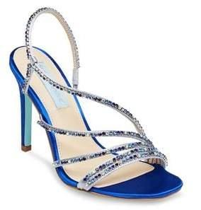 Betsey Johnson Aces Embellished Satin Slingback Sandals