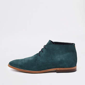 River Island Mens Teal blue suede desert boots