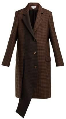 Loewe Asymmetric Houndstooth Wool Coat - Womens - Brown Multi