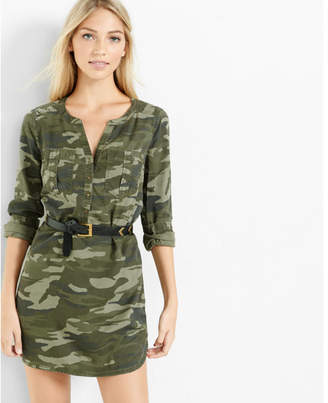 Express camouflage soft twill popover shirt dress $69.90 thestylecure.com