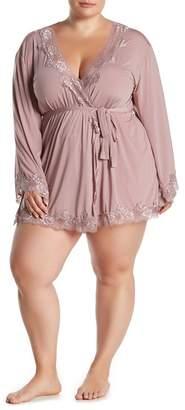 Oh La La Cheri Lace Trim Bell Sleeve Robe (Plus Size)