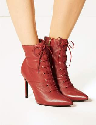 Marks and Spencer Leather Stiletto Heel Lace Up Ankle Boots