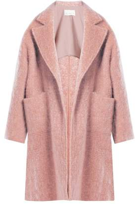 Raey Dropped Shoulder Wool Blend Blanket Coat - Womens - Pink