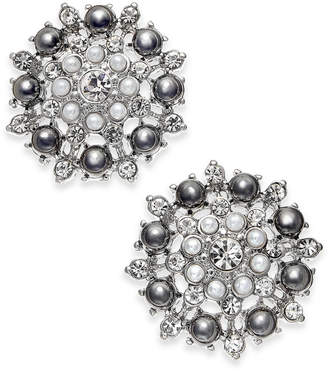 INC International Concepts I.NC. Silver-Tone Crystal & Imitation Pearl Cluster Stud Earrings, Created for Macy's