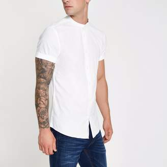 River Island Mens White wasp embroidered grandad Oxford shirt