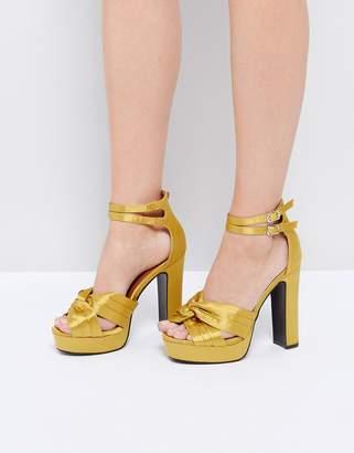 Glamorous Yellow Double Strap Platform Heeled Sandals