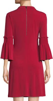 Gabby Skye Bell-Sleeve Choker-Neck A-line Dress