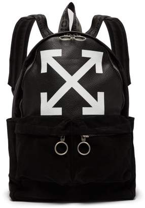 Off-white - Arrows Suede And Leather Backpack - Mens - Black White