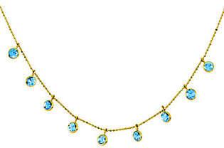 "QVC 16"" Blue Topaz Diamond-Cut Beaded Necklace, 14K"